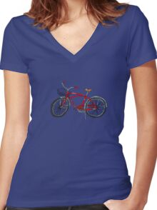 Vintage Pedal Power Women's Fitted V-Neck T-Shirt