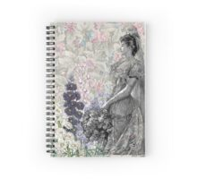 Victorian Floral Woman Lavender Pink Flowers Spiral Notebook