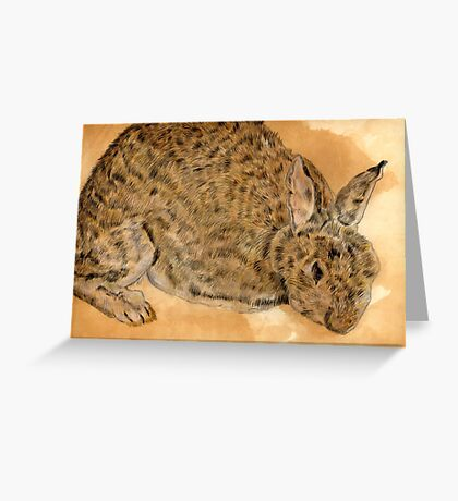 Tea & Coffee stained Rabbit Greeting Card