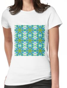 Mandala On White With Yellow And Blue - Tiled Womens Fitted T-Shirt