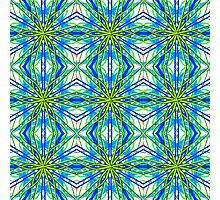 Mandala On White With Yellow And Blue - Tiled Photographic Print