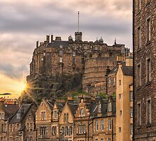 Edinburgh Castle Sunset from Candlemaker Row by Miles Gray