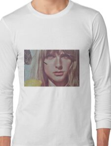 blond lady on a wall  Long Sleeve T-Shirt