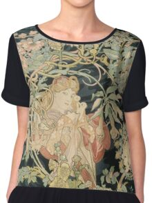 Alphonse Mucha - Woman In La Marguerite 1899  Garden,woman, love, dress,  birthday, fashion, spring, summer, peonies, pink,  beauty Chiffon Top