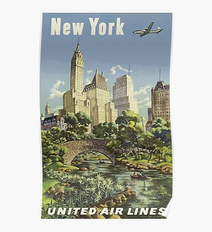 New York United Air Lines Vintage Travel Poster Poster