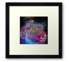 'Gallifrey Falls No More.' in Gallifreyan - Gold (bright nebula background) Framed Print