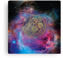 'Gallifrey Falls No More.' in Gallifreyan - Gold (bright nebula background) Canvas Print