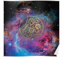 'Gallifrey Falls No More.' in Gallifreyan - Gold (bright nebula background) Poster