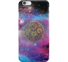 'Gallifrey Falls No More.' in Gallifreyan - Gold (bright nebula background) iPhone Case/Skin