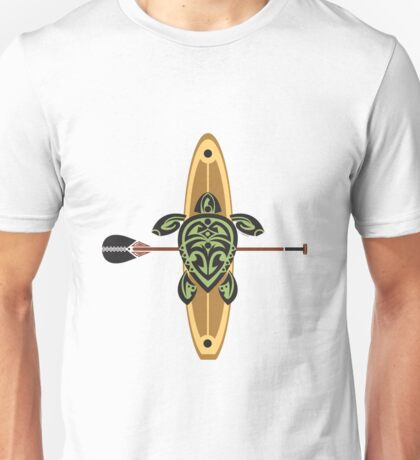 Black & Green Tribal Turtle Stand-Up Wave Rider Unisex T-Shirt