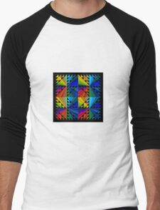 Colorful Psychedelic Pattern Men's Baseball ¾ T-Shirt
