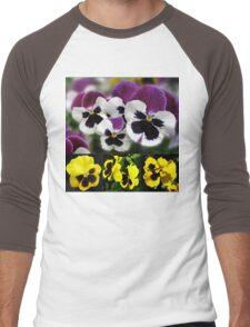 Cute Pansies Collage Men's Baseball ¾ T-Shirt