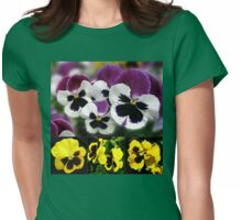 Cute Pansies Collage Womens Fitted T-Shirt