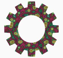 Psychedelic Circles Red & Green Baby Tee