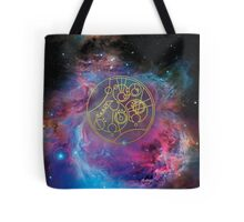 'Gallifrey Falls No More.' in Gallifreyan - Gold (bright nebula background) Tote Bag