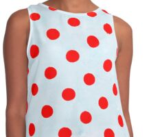 Red Polka Dots and Blue Background Contrast Tank