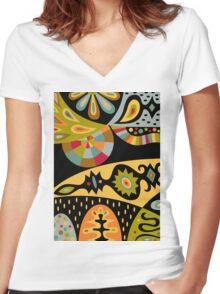 Bohemian black Women's Fitted V-Neck T-Shirt