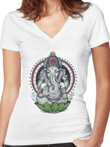 Ganesh and Lotus Flower Women's Fitted V-Neck T-Shirt