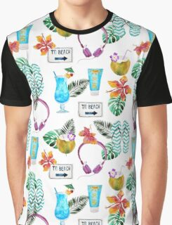 Tropical summer watercolor floral colorful beach pattern Graphic T-Shirt