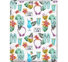 Tropical summer watercolor floral colorful beach pattern iPad Case/Skin