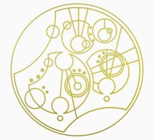 'Gallifrey Falls No More.' in Gallifreyan - Gold (transparent background) Kids Tee