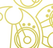 'Gallifrey Falls No More.' in Gallifreyan - Gold (transparent background) Sticker