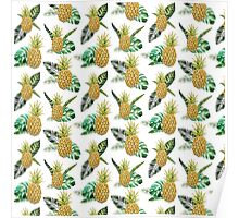 Summer tropical yellow green watercolor pineapple Poster