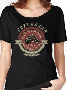 Cafe Racer Motorcycle T shirt - Fuck The Plastic Get The Classic t shirt Women's Relaxed Fit T-Shirt