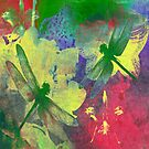 Painting Dragonflies & Orchids Throw Pillows A by Vitta