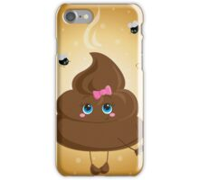 Cute turd with a bow and flies. iPhone Case/Skin