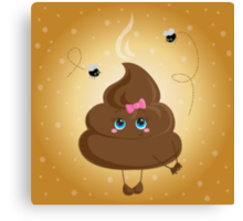 Cute turd with a bow and flies. Canvas Print