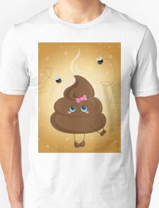 Cute turd with a bow and flies. Unisex T-Shirt