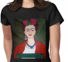 Frida Kahlo portrait with dalias  Womens Fitted T-Shirt