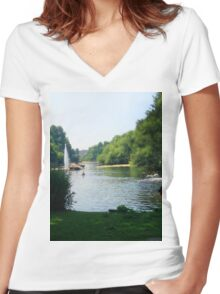 Water River Women's Fitted V-Neck T-Shirt