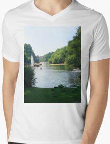 Water River Mens V-Neck T-Shirt