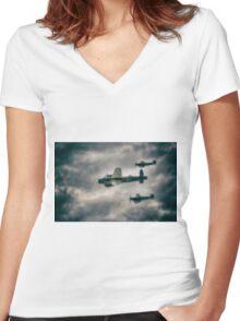 BBMF Spitfire Escort Women's Fitted V-Neck T-Shirt