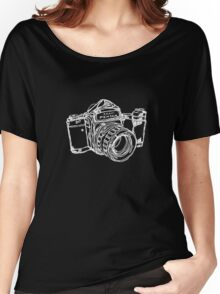 Pentax 6X7 Medium Format Camera WHITE INK Women's Relaxed Fit T-Shirt