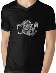 Pentax 6X7 Medium Format Camera WHITE INK Mens V-Neck T-Shirt