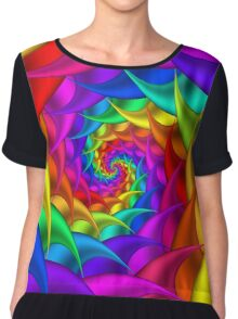 Psychedelic Rainbow Spiral  Chiffon Top