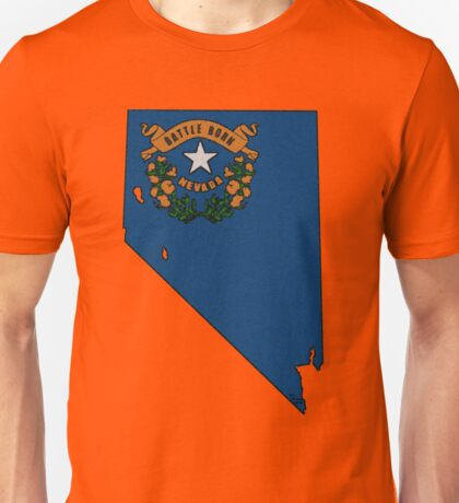 Nevada Map With Nevada State Flag Unisex T-Shirt