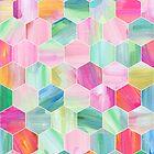 Pretty Pastel Hexagon Pattern in Oil Paint by micklyn