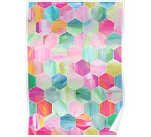 Pretty Pastel Hexagon Pattern in Oil Paint Poster