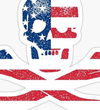 Skull and Bones American Flag Edition Sticker
