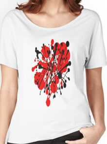 red and black abstract Women's Relaxed Fit T-Shirt
