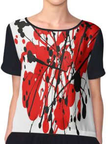 red and black abstract Chiffon Top