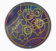 'Gallifrey Falls No More.' in Gallifreyan - Gold (nebula background) by ChibiPeppers