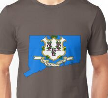 Connecticut Map with Connecticut State Flag Unisex T-Shirt