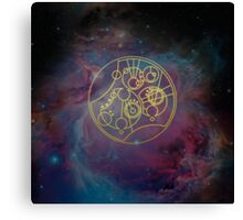 'Gallifrey Falls No More.' in Gallifreyan - Gold (nebula background) Canvas Print