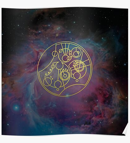 'Gallifrey Falls No More.' in Gallifreyan - Gold (nebula background) Poster