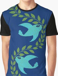 Bluebird with Green Garland  Graphic T-Shirt